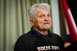 Ante Kostelic, father and coach of Ivica Kostelic of Croatia, silver medallist during reception at arrival from Sochi Winter Olympic Games 2014 on February 23, 2014 in Airport Zagreb, Croatia. Photo by Vid Ponikvar / Sportida