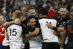 New-Zealand's joy after scoring one of their 5 tries during a rugby friendly Test match, France vs New-Zealand in Stade de France, St-Denis, France, on November 11th, 2017. France New-Zealand won 38-18. Photo by Henri Szwarc/ABACAPRESS.COM
