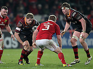 Thomas Rhys Thomas ( left) and Matthew Screech ( Right) of the Dragons in action.<br /> Guinness Pro12 rugby match, Munster v Newport Gwent Dragons at Thomond Park in Limerick , Ireland on Saturday 5th March 2016.<br /> pic by  John Halas, Andrew Orchard sports photography.