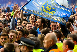 Portsmouth fans celebrate with Christian Burgess of Portsmouth - Mandatory by-line: Jason Brown/JMP - 06/05/2017 - FOOTBALL - Fratton Park - Portsmouth, England - Portsmouth v Cheltenham Town - Sky Bet League Two