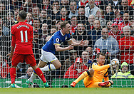 Matthew Pennington of Everton celebrates scoring the equalising goal during the English Premier League match at Anfield Stadium, Liverpool. Picture date: April 1st 2017. Pic credit should read: Simon Bellis/Sportimage