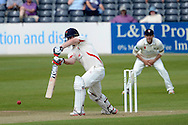 Steven Croft drives the ball during the LV County Championship Div 2 match between Gloucestershire County Cricket Club and Lancashire County Cricket Club at the Bristol County Ground, Bristol, United Kingdom on 7 June 2015. Photo by Alan Franklin.