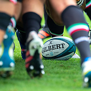 DUBLIN, IRELAND:  October 9:   A Gilbert official match ball for the United Rugby Championship during scrum practice before the Leinster V Zebre, United Rugby Championship match at RDS Arena on October 9th, 2021 in Dublin, Ireland. (Photo by Tim Clayton/Corbis via Getty Images)