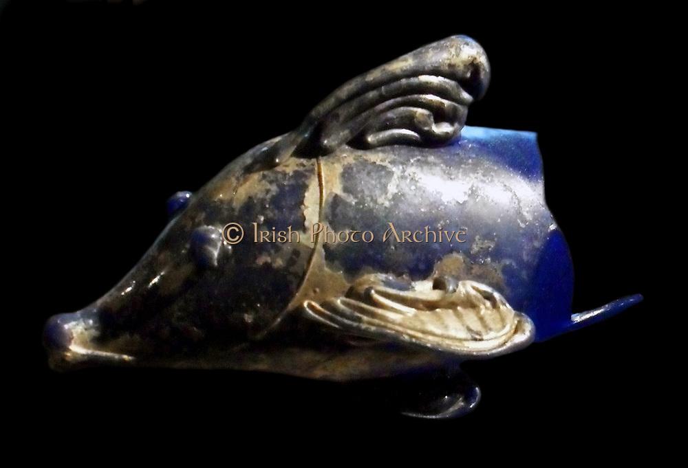 Ichtyomorphic bottle. 1st century AD glass part of the treasure of Bagram, Afghanistan