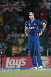 © Licensed to London News Pictures. 23/09/2012. England captain Stuart Broad shows some frustration while being hit for four runs during the T20 Cricket World T20 match between England Vs India at the R.Premadasa Cricket Stadium,Colombo. Photo credit : Asanka Brendon Ratnayake/LNP