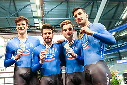 March 1, 2018 - Apeldoorn, Netherlands - (L-R) Bronze medallists Italy's team members Filippo Ganna, Franceso Lamon, Simone Consonni and Liam Bertazzo pose on the podium after the men's Team Pursuit final during the UCI Track Cycling World Championships in Apeldoorn on March 1, 2018. (Credit Image: © Foto Olimpik/NurPhoto via ZUMA Press)