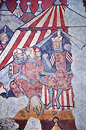 """Gothic fresco mural painting """"THE CONQUEST OF MAJORCA"""" 1285-1290. National Museum of Catalan Art, Barcelona, Spain, inv no: 071447-CJT. <br /> The mural paintings of the Conquest of Majorca come from the former ancestral home of the Caldes family in Carrer Montcada in Barcelona, a building later known as Palau Aguilar. Discovered and removed in 1961, these paintings are one of the most important examples of early or Linear Gothic Catalan painting. This magnificent example of painting on historical subject matter narrates the conquest of the island of Majorca by James I the Conqueror in 1229. Like a painted chronicle, the episodes follow the detailed narrative of Catalan medieval accounts such as King James I's 'Llibre dels Feits' and Bernat Desclot's 'Crònica'. .<br /> <br /> If you prefer you can also buy from our ALAMY PHOTO LIBRARY  Collection visit : https://www.alamy.com/portfolio/paul-williams-funkystock/romanesque-art-antiquities.html<br /> Type -     MNAC     - into the LOWER SEARCH WITHIN GALLERY box. Refine search by adding background colour, place, subject etc<br /> <br /> Visit our ROMANESQUE ART PHOTO COLLECTION for more   photos  to download or buy as prints https://funkystock.photoshelter.com/gallery-collection/Medieval-Romanesque-Art-Antiquities-Historic-Sites-Pictures-Images-of/C0000uYGQT94tY_Y"""