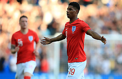 England's Marcus Rashford (right) celebrates scoring his side's first goal of the game during the International Friendly match at Elland Road, Leeds.