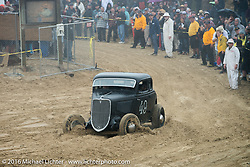 James Big Mac McCormick riding onto the beach in his 1933 Ford Chopped Hi-boy Coupe at TROG West - The Race of Gentlemen. Pismo Beach, CA, USA. Saturday October 15, 2016. Photography ©2016 Michael Lichter.