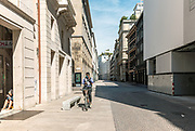 Milan, empty space during the massive shut down. Corso Vittorio Emanuele