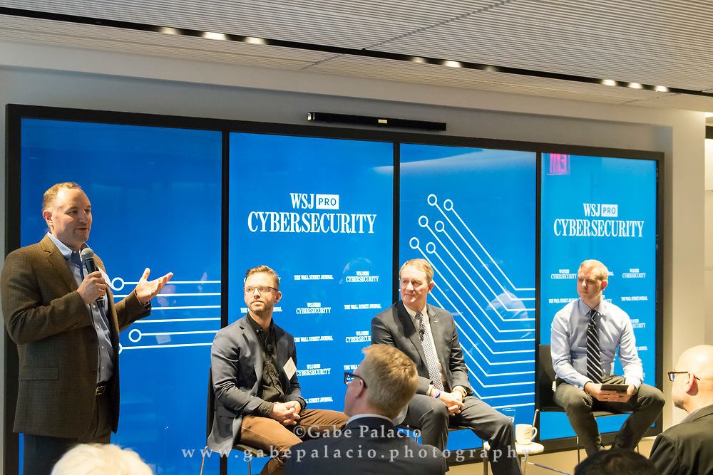 Keith Fuentes, VP Knox and<br /> Service Sales, Samsung Electronics America gives opening remarks for The WSJpro Cybersecurity event in New York City on December 12, 2017. (photo by Gabe Palacio)