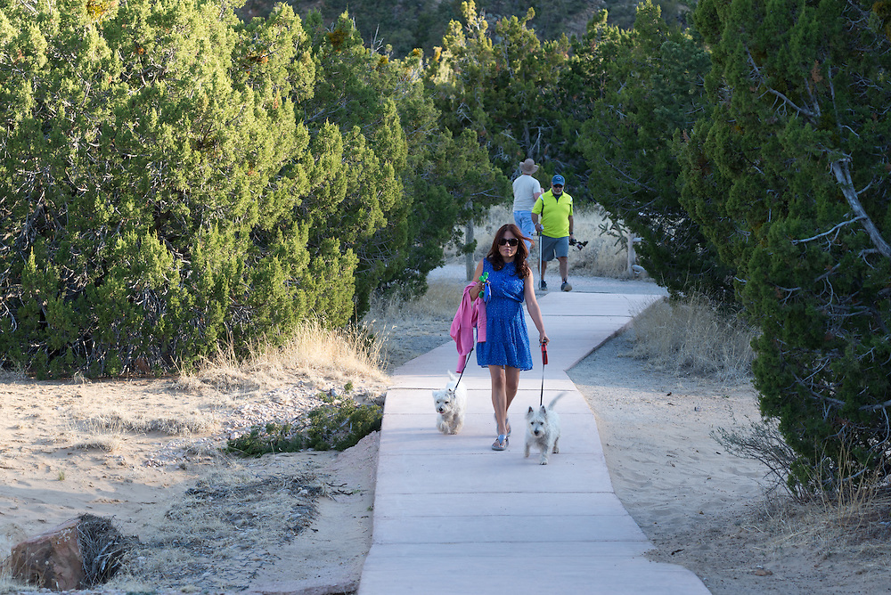 Woman walking dogs on a paved trail in El Malpais National Monument, New Mexico.