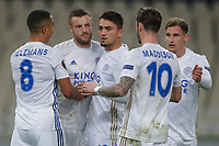 ATHENS, GREECE - OCTOBER 29: Leicester City players celebrate the first goal of their team during the UEFA Europa League Group G stage match between AEK Athens and Leicester City at Athens Olympic Stadium on October 29, 2020 in Athens, Greece. (Photo by MB Media)