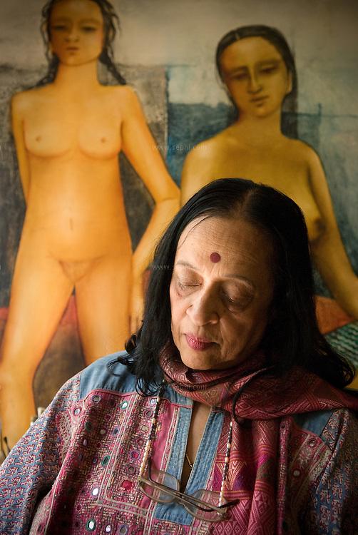Artist Anjolie Ela Menon in her studio. New Delhi, September 2008