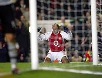 Photo: Scott Heavey.<br />Arsenal v Southampton. FA Barclaycard Premiership. 10/02/2004.<br />Thierry Henry cant believe he hasnt got a hat-trick