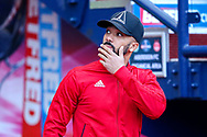 Shaleum Logan (#2) of Aberdeen arrives ahead of the Betfred Cup Final between Celtic and Aberdeen at Celtic Park, Glasgow, Scotland on 2 December 2018.