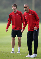 Photo: Paul Thomas.<br /> Manchester United training session. UEFA Champions League. 16/10/2006.<br /> <br /> Michael Carrick (L) and Rio Ferdinand.