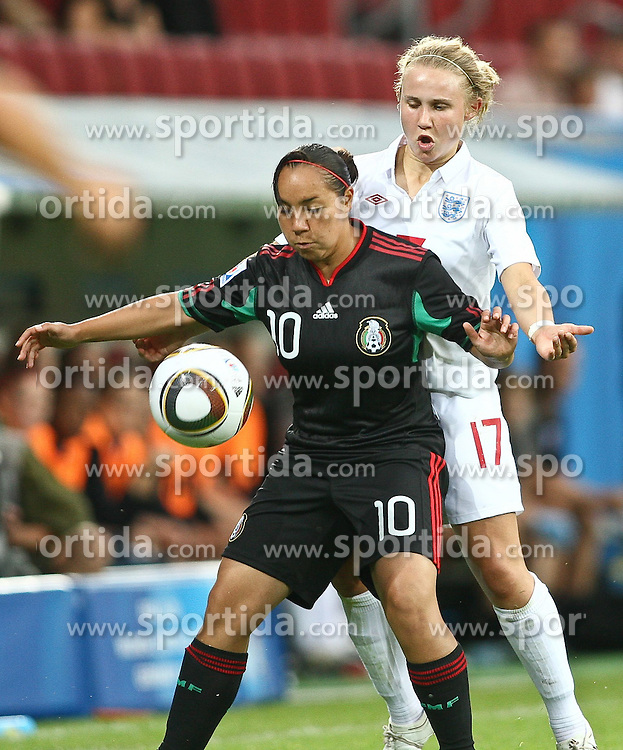 17.07.2010,  Augsburg, GER, FIFA U20 Womens Worldcup, England vs Mexico,  im Bild Corral Charlyn (Mexico Nr.10) und Isobel Christiansen (England Nr.17) , EXPA Pictures © 2010, PhotoCredit: EXPA/ nph/ . Straubmeier+++++ ATTENTION - OUT OF GER +++++ / SPORTIDA PHOTO AGENCY