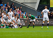 England scrum-half Max Green throws a pass during the World Rugby U20 Championship Final   match England U20 -V- Ireland U20 at The AJ Bell Stadium, Salford, Greater Manchester, England onSaturday, June 25, 2016. (Steve Flynn/Image of Sport)