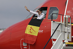 June 13, 2018 - Zaventem, BELGIUM - Illustration shows a flight crew member at the window of the cockpit of the special plane of Brussels Airlines called 'the Trident' with Belgian flag colours and pictures of players, ahead the departure of the Belgian national soccer team Red Devils, Wednesday 13 June 2018, in Zaventem airport. The Red Devils flight to Moscow today for the FIFA World Cup 2018...BELGA PHOTO THIERRY ROGE (Credit Image: © Thierry Roge/Belga via ZUMA Press)