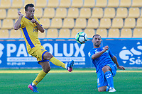 Getafe CF's Medhi Lacen (r) and AD Alcorcon's Foued Kadir during friendly match. August 9,2017. (ALTERPHOTOS/Acero)