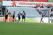 Fulham's Dimitar Berbatov (3rd left) celebrates after he scores his sides 2nd goal. Barclays Premier league, Swansea city v Fulham at the Liberty Stadium in Swansea, South Wales on Sunday 19th May 2013. pic by Andrew Orchard,  Andrew Orchard sports photography,