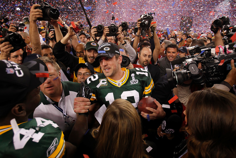 Green Bay Packers quarterback and Super Bowl XLV MVP Aaron Rodgers celebrated with running back James Starks following the team's 31-25 victory over the Pittsburgh Steelers in Super Bowl XLV at Cowboys Stadium in Arlington, Texas, on February 6, 2010.