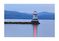 The Burlington Breakwater North Lighthouse on Lake Champlain at the Burlington waterfront on a pleasant evening in Vermont, USA