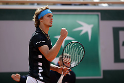 May 28, 2019 - Paris, France - Alexander Zverev during Day three of the 2019 French Open at Roland Garros on May 28, 2019 in Paris, France. (Credit Image: © Mehdi Taamallah/NurPhoto via ZUMA Press)