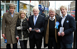 London Mayor Boris Johnson with his family L to R Leo (brother), Rachel, Boris, his Father Stanley, Brother Jo, campaigning in Orpington, on  The Mayoral Election Day, Thursday May 3, 2012. Photo By Andrew Parsons/i-Images