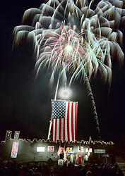 Fireworks mark New Year's celebration at Railroad Square, Keene, New Hampshire.