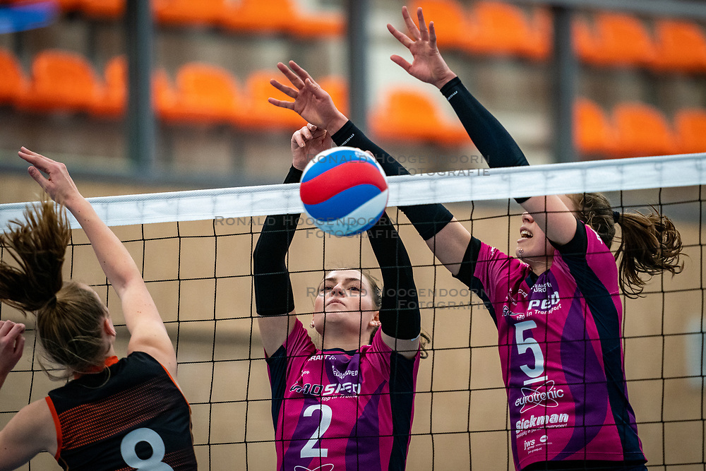 Jette Kuipers of Talent Team, Kirsten Spruijt of Eurosped, Lisanne Baak of Eurosped in action during the league match Talentteam Papendal vs.  Eurosped on January 23, 2021 in Ede.