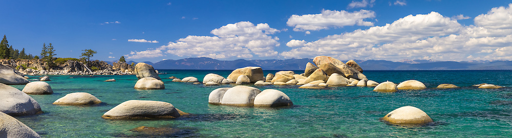 """""""Whale Rock, Lake Tahoe 3"""" - Stitched panoramic photograph of the famous Whale Rock and other boulders at Whale Beach, on the East Shore of Lake Tahoe."""