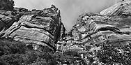 Looking up at jagged, saw tooth peaks at Zion National Park, Utah, USA