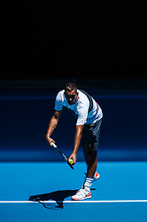 January 14, 2019 - Melbourne, VIC, U.S. - MELBOURNE, VIC - JANUARY 13: NICK KYRGIOS (AUS) .during practice day of the 2019 Australian Open on January 13, 2019 at Melbourne Park Tennis Centre Melbourne, Australia (Photo by Chaz Niell/Icon Sportswire) (Credit Image: © Chaz Niell/Icon SMI via ZUMA Press)