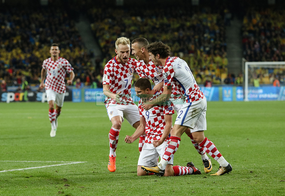 October 9, 2017 - Kiev, Ukraine - Andrej Kramaric of Croatia (9) celebrates as he scores their first goal during the FIFA 2018 World Cup Group I Qualifier between Ukraine and Croatia at Kiev Olympic Stadium on October 9, 2017 in Kiev, Ukraine. Ukraine fail to reach the play-offs as they lose 2-0. (Credit Image: © Sergii Kharchenko/NurPhoto via ZUMA Press)