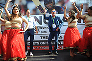 Ex England player and now BBC TMS commentators Phil Tufnell (right) and Michael Vaughn (Left) take part in a Bollywood dance Routine with Southampton University Indian Dance Society during the third day of the 4th SpecSavers International Test Match 2018 match between England and India at the Ageas Bowl, Southampton, United Kingdom on 1 September 2018.