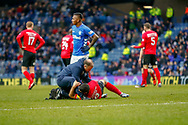 Gary Dicker of Kilmarnock receives treatment during the Ladbrokes Scottish Premiership match between Rangers and Kilmarnock at Ibrox, Glasgow, Scotland on 16 March 2019.