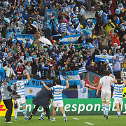 Argentina players celebrate their one point victory with their fans during the Argentina V Scotland, Pool B match at the IRB Rugby World Cup tournament. Wellington Regional Stadium, Wellington, New Zealand, 25th September 2011. Photo Tim Clayton...