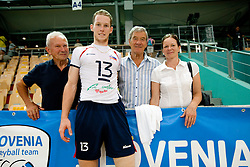 Tine Urnaut of Slovenia with his grandfather (L), father Adi Urnaut and mother Anita after the volleyball match between National Teams of Slovenia and Belgium of 2011 CEV Volleyball European League Men - Pool A, on July 9, 2011, in  Arena Ljudski vrt Lukna, Maribor, Slovenia. Slovenia defeated Belgium 3-1. (Photo by Vid Ponikvar / Sportida)