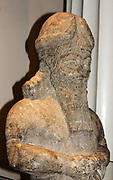 Human-headed winged bull (or Šedu) statue. Assyrian (circa 710-705 BC). Taken from Khorsabad. A protective spirit statue used to guard palace doorways