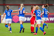 GOAL Brighton & Hove Albion Midfielder Megan Connolly (8) celebrates her goal 1-0 during the FA Women's Super League match between Brighton and Hove Albion Women and BIrmingham City Women at The People's Pension Stadium, Crawley, England on 6 September 2020.