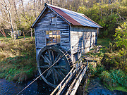Aerial photograph of historic Hyde's Mill, a former water-driven mill on Mill Creek, near Ridgeway, Wisconsin, USA.