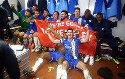 Peterborough United players celebrate reaching the Johnstone's Paint Trophy at Wembley - Photo mandatory by-line: Joe Dent/JMP - Tel: Mobile: 07966 386802 17/02/2014 - SPORT - FOOTBALL - Swindon - County Ground - Swindon Town v Peterborough United - Johnstone's Paint Trophy - Southern Area Final - Second Leg