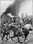 British colonial troops burning a rebel Boer's farm. After painting by R. Caton Woodville. 2nd Boer War 1899-1902.