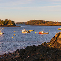 Fishing boats in the harbor in Lubec, Maine.