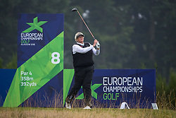 Great Britain's Dame Laura Davies tees off at the 8th hole during her semi final match against Sweden this morning during day eleven of the 2018 European Championships at Gleneagles PGA Centenary Course.