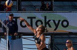 Heleene Hollas (1) of Estonia, Liisa Soomets (2) of Estonia in action during CEV Continental Cup Final Day 1 - Women on June 23, 2021 in The Hague