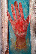 INDIA, PORTRAITS Traditional pattern or 'mehndi' a decorative design applied to the palm of the hand
