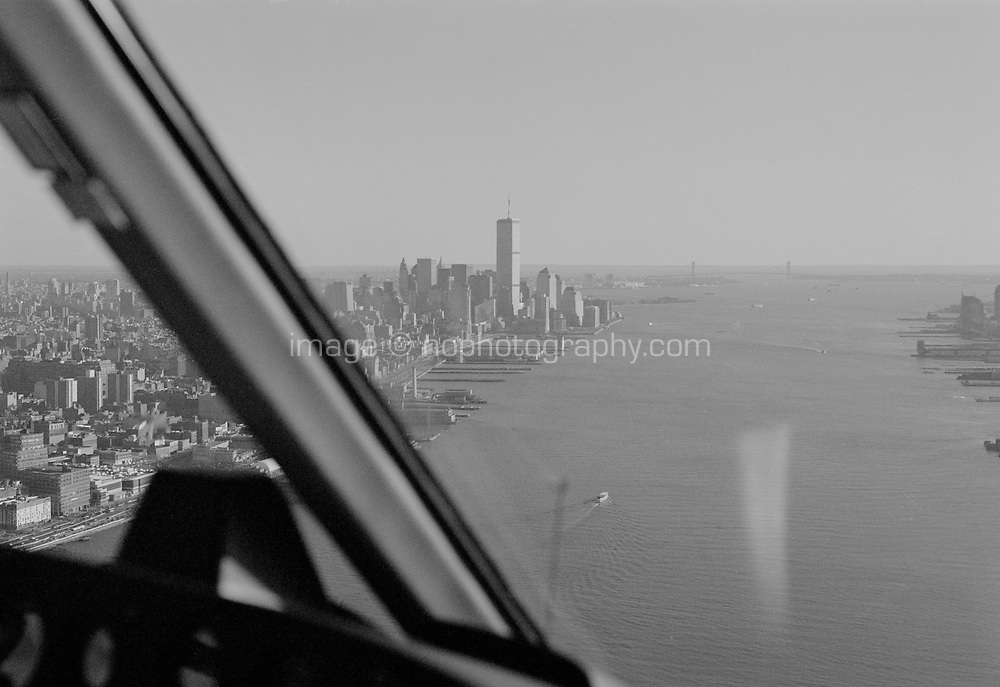 View of Manhattan New York from a helicopter circa 2000